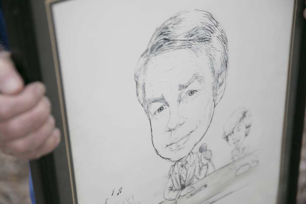A cartoon drawing of Dennis Ortwein, who is one of four people who will have new elementary schools named after them, at his home in Summerlin,  Las Vegas, on Wednesday, Sept. 13, 2017. Ortwein ha ...