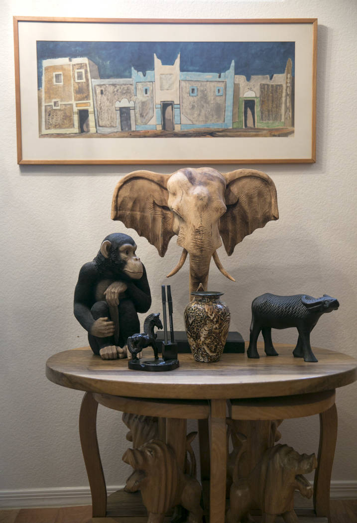 Dennis Ortwein's cocktail table and painting of Nigerian compound houses in Kano, Ningera at his home in Summerlin,  Las Vegas, on Wednesday, Sept. 13, 2017.  Ortwerin is one of four people who wi ...