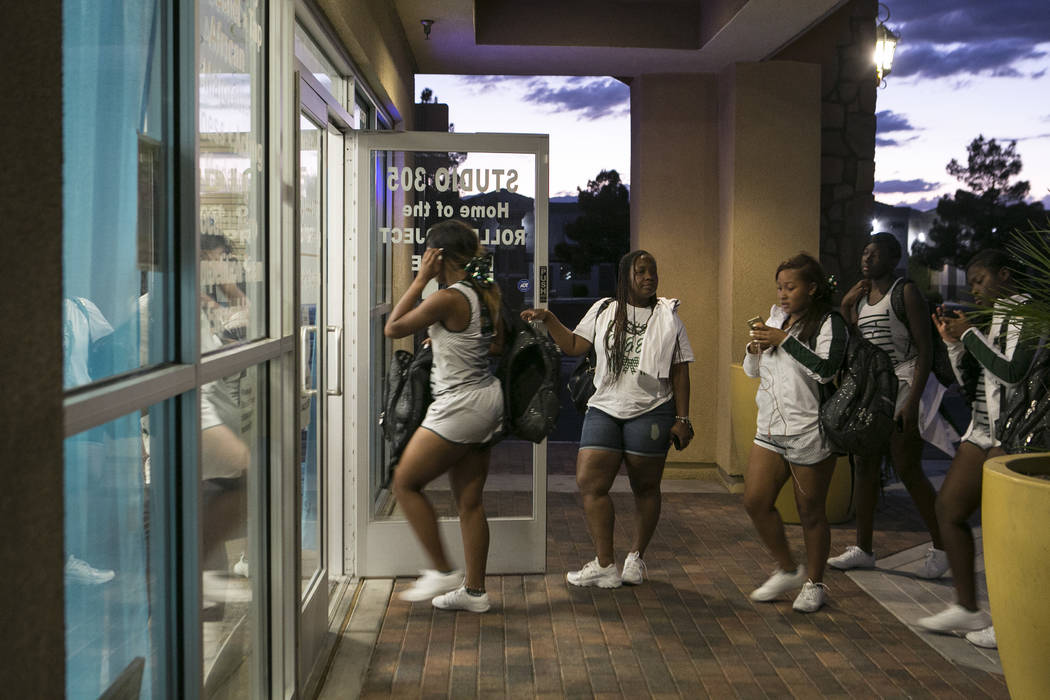 Miami Central High School cheerleaders enter the Rolle Project for dance class on Wednesday, Sept. 13, 2017. The dance studio's founder Tyrell Rolle, who is originally from Miami, held a free danc ...