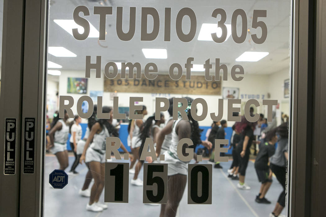 Miami Central High School cheerleaders participate in a dance class at Rolle Project on Wednesday, Sept. 13, 2017. The dance studio's founder Tyrell Rolle, who is originally from Miami, held a fre ...