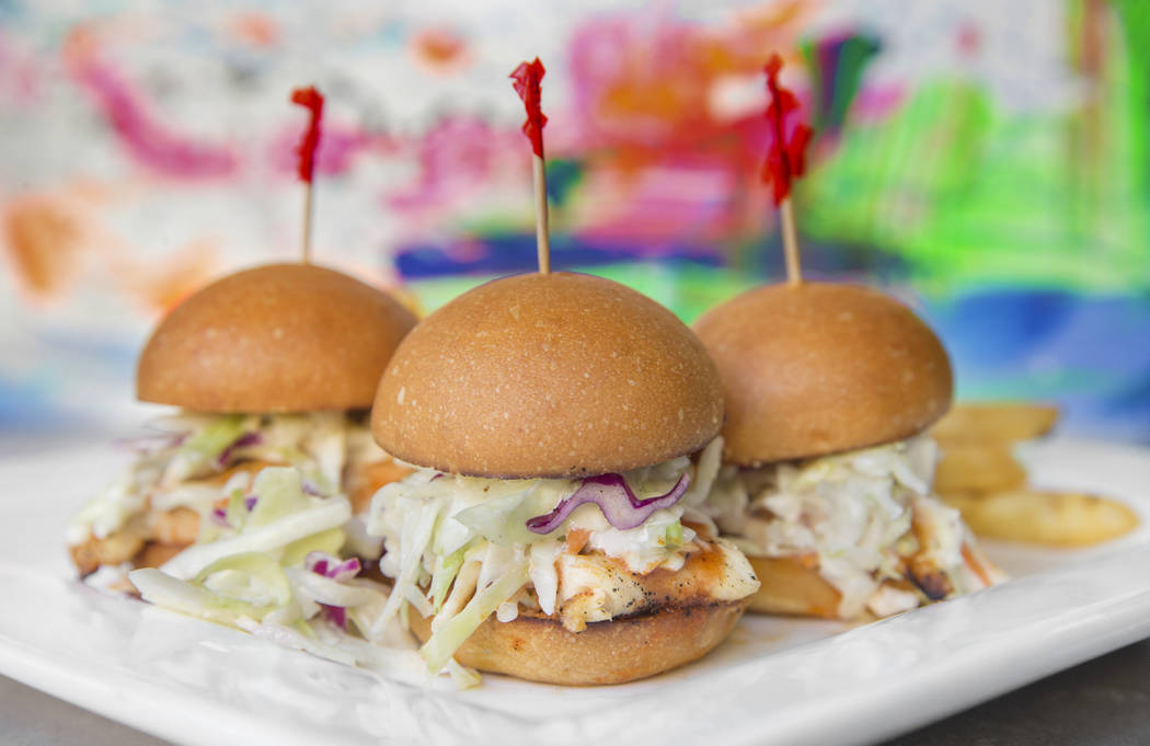 Buffalo chicken sliders with blue cheese, coleslaw and red onions at Proof Tavern on Tuesday, September 19, 2017, in Henderson. Benjamin Hager Las Vegas Review-Journal @benjaminhphoto