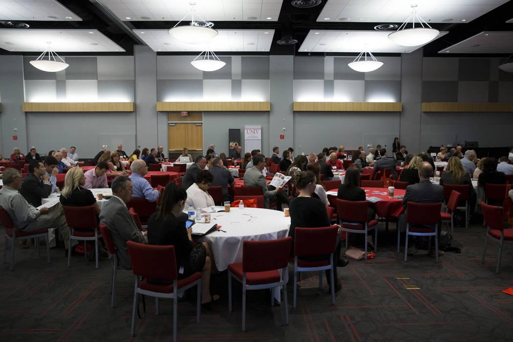 People listen to Vegas Golden Knights President Kerry Bubolz during the Nevada Economic Development Conference at UNLV in Las Vegas, Tuesday, Sept. 12, 2017. Erik Verduzco Las Vegas Review-Journal ...