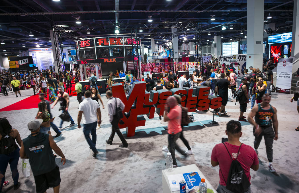 Attendees walk the floor during Joe Weider's Olympia's Fitness & Performance Expo at the Las Vegas Convention Center in Las Vegas on Friday, Sept. 15, 2017. Chase Stevens Las Vegas Review-Jour ...