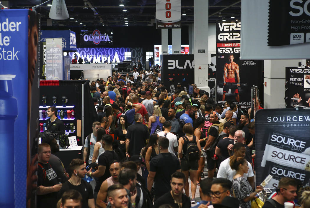 Attendees explore exhibitors during Joe Weider's Olympia's Fitness & Performance Expo at the Las Vegas Convention Center in Las Vegas on Friday, Sept. 15, 2017. Chase Stevens Las Vegas Review- ...