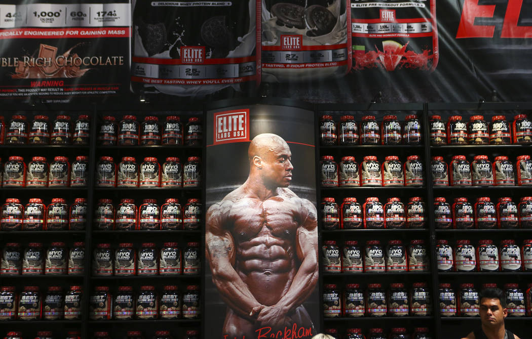 Items on display at the Elite Labs booth during Joe Weider's Olympia's Fitness & Performance Expo at the Las Vegas Convention Center in Las Vegas on Friday, Sept. 15, 2017. Chase Stevens Las V ...