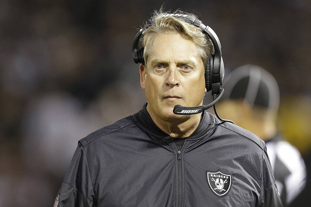 Oakland Raiders head coach Jack Del Rio walks on the sideline during the first half of an NFL preseason football game against the Los Angeles Rams in Oakland, Saturday, Aug. 19, 2017. (AP Photo/Be ...