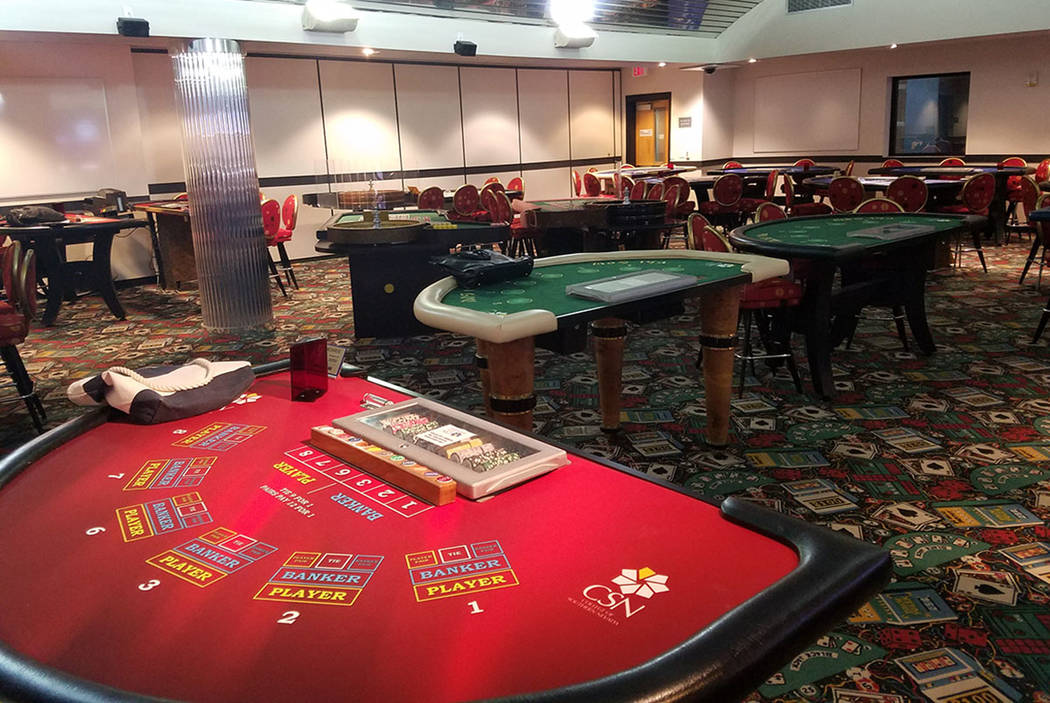 The College of Southern Nevada logo adorns the red and green felt on a table at the school's 2,700-square-foot casino lab on Sept. 5, 2017. (Richard N. Velotta/Las Vegas Review-Journal) @RickVelotta