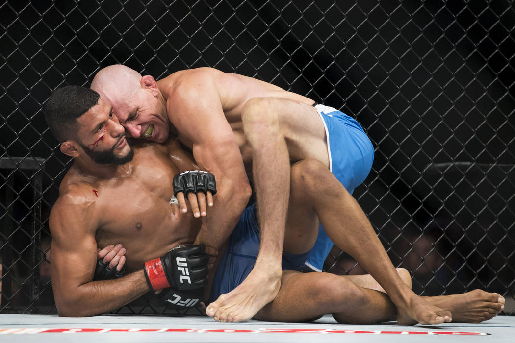 Dhiego Lima, left, battles Jesse Taylor in The Ultimate Fighter 25 welterweight bout at T-Mobile Arena in Las Vegas, Friday, July 7, 2017. Taylor won by way of submission. Erik Verduzco Las Vegas  ...