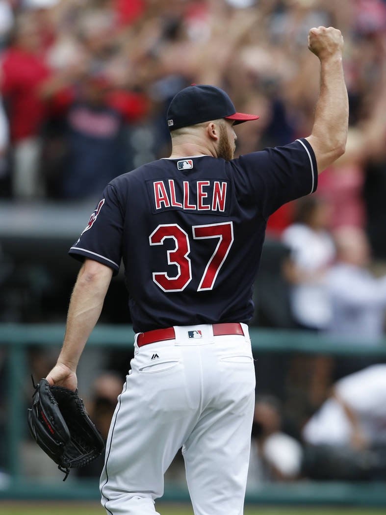 Cleveland Indians starting pitcher Cody Allen celebrates the last out of a 5-3 victory over the Detroit Tigers in a baseball game, Wednesday, Sept. 13, 2017, in Cleveland. The Indians set the Amer ...