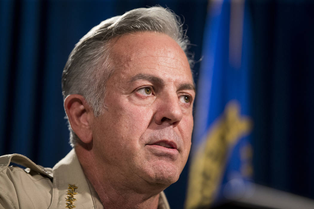 Sheriff Joe Lombardo during a press conference on an incident involving NFL football player Michael Bennett, at the Las Vegas Metropolitan Police Headquarters in Las Vegas, Friday, Sept. 29, 2017. ...