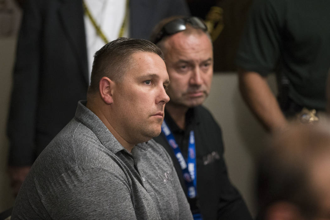 Steve Grammas, president of the Las Vegas Police Protective Association, left, and Scott Nicholas, vice president of LVPPA, during a press conference by Sheriff Joe Lombardo on an incident involvi ...
