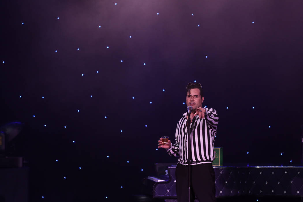 Frankie Moreno holds liquor in his hand during a show at the Suncoast Showroom in Las Vegas, Saturday, Sept. 9, 2017. Joel Angel Juarez Las Vegas Review-Journal @jajuarezphoto