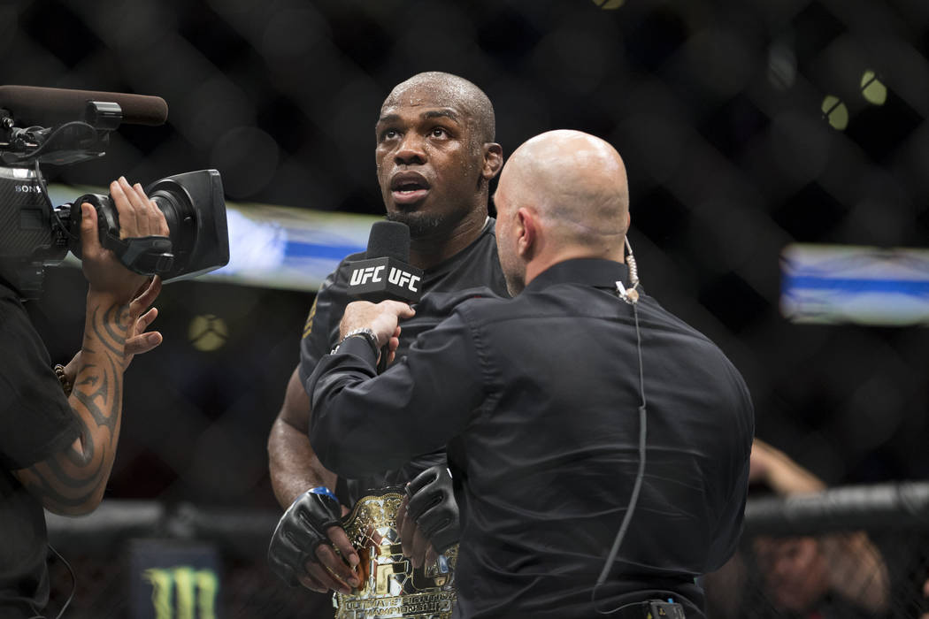 Jon Jones after his win against Daniel Cormier in the light heavyweight title bout during UFC 214 at the Honda Center in Anaheim, Calif., on Saturday, July 29, 2017. Jones won by knockout. Erik Ve ...