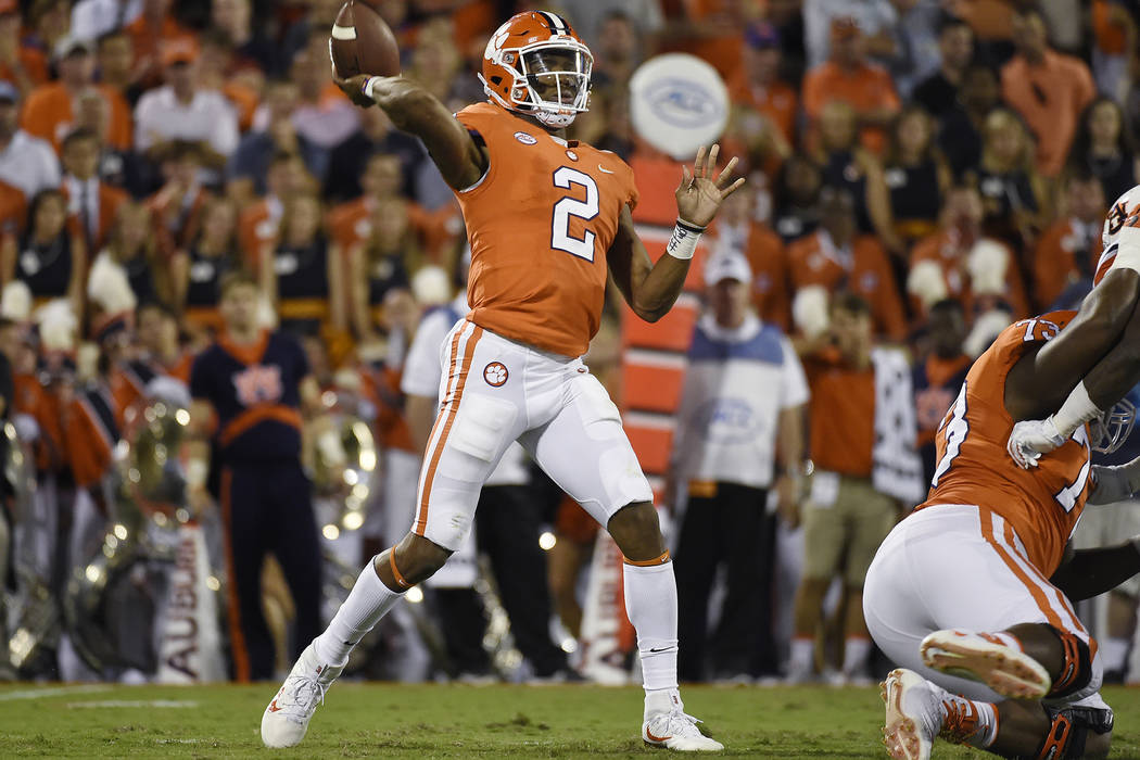 Clemson quarterback Kelly Bryant (2) throws the ball against Auburn during the first half of an NCAA college football game, Saturday, Sept. 9, 2017, in Clemson, S.C. Clemson won 14-6. (AP Photo/Ra ...