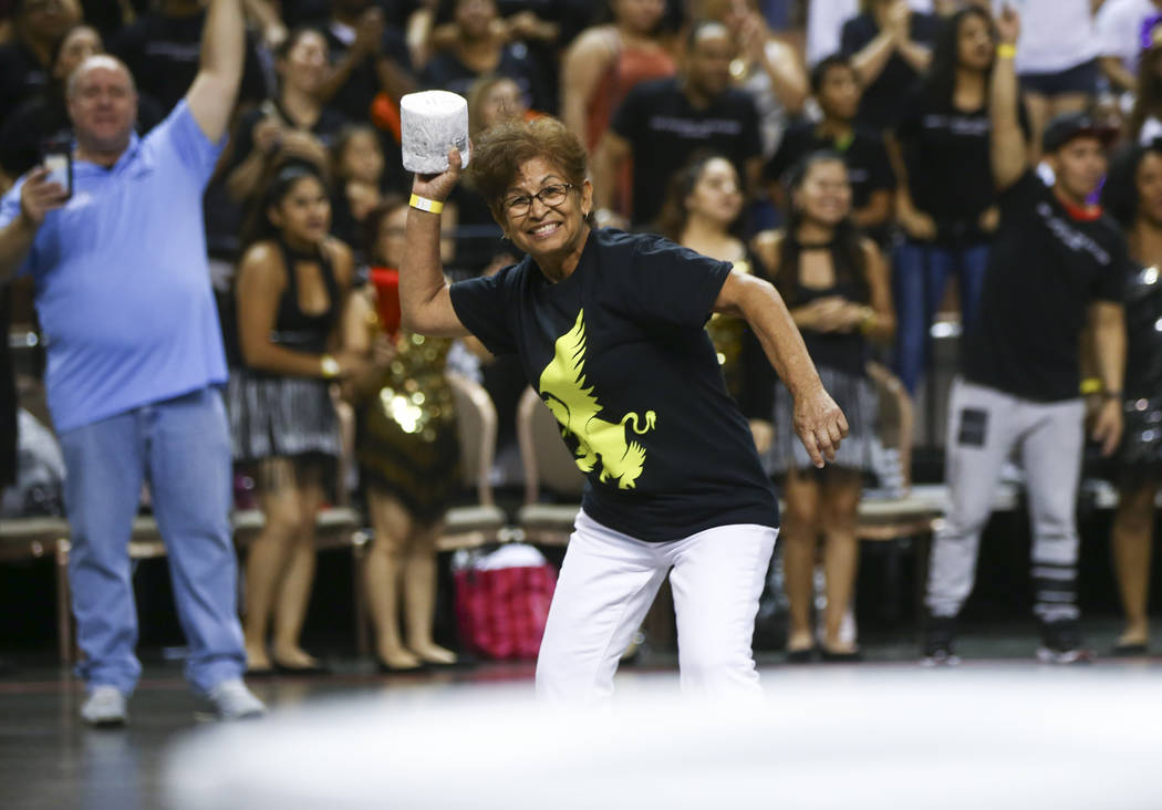 Mercedes Hernandez of J.W. Marriott competes in the toilet paper toss competition as part of the Housekeeping Olympics at the Mandalay Bay Events Center in Las Vegas on Wednesday, Sept. 13, 2017.  ...