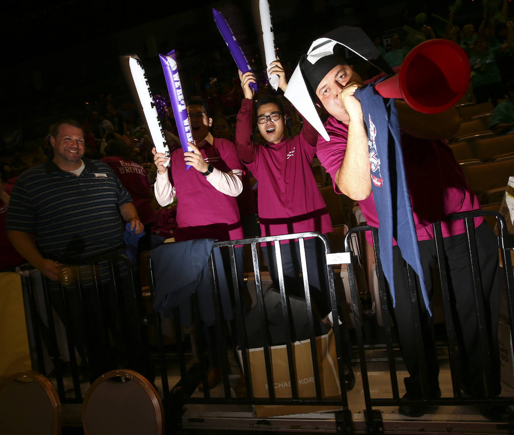 Jason Longobardi of the Excalibur, right, during the Housekeeping Olympics at the Mandalay Bay Events Center in Las Vegas on Wednesday, Sept. 13, 2017. The competition drew teams from 17 different ...