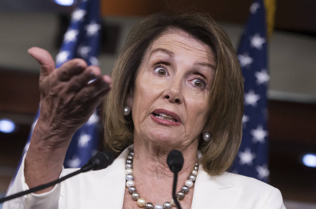 House Minority Leader Nancy Pelosi, D-Calif., meets with reporters on the morning after she and Senate Democratic Leader Chuck Schumer met with President Donald Trump seeking a legislative solutio ...
