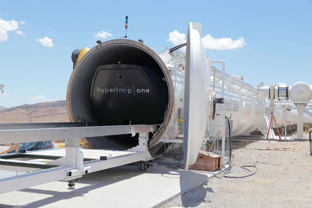 Hyperloop's test facility in North Las Vegas. The company has excluded Nevada from a working version of its transportation plan. (Hyperloop One)