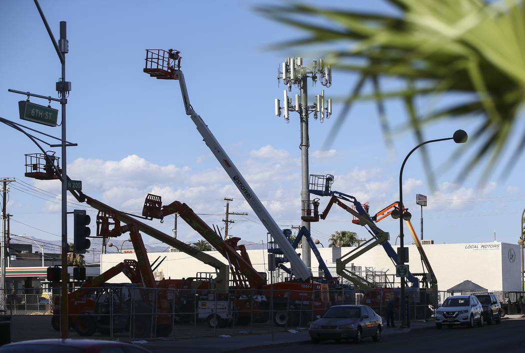 Bucket lifts rise in the sky along 6th Street near Ogden Avenue as setup for the Life is Beautiful festival begins in downtown Las Vegas on Thursday, Sept. 14, 2017. Chase Stevens Las Vegas Review ...