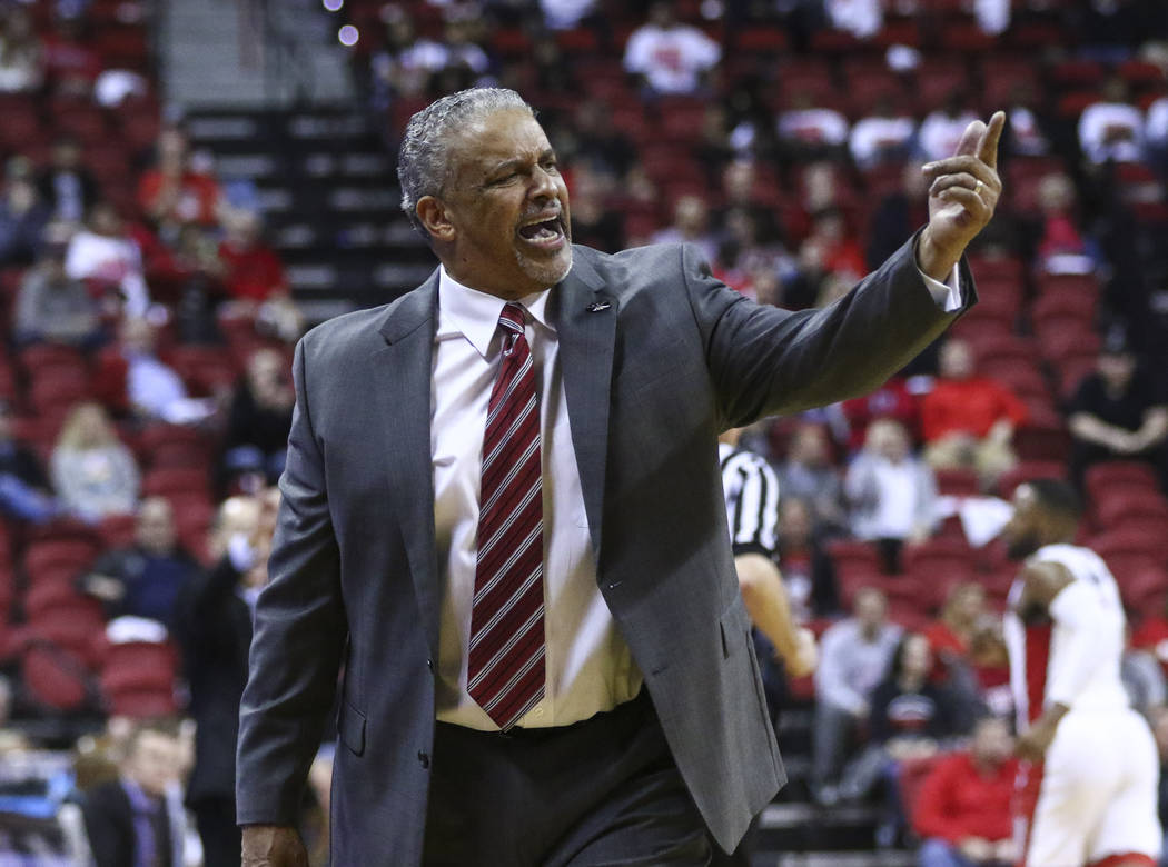 UNLV head coach Marvin Menzies reacts during a basketball game against Utah State at the Thomas & Mack Center in Las Vegas on Wednesday, March 1, 2017. UNLV won 66-59, ending their nine-game l ...