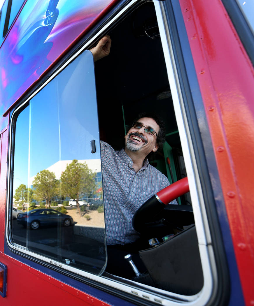 Artist and owner of Art Bus Coffee Steve Patchin in his mobile art gallery and coffee shop serving outside of Mailmax Mailing Solutions in Las Vegas, Thursday, Sept. 14, 207. Elizabeth Brumley Las ...