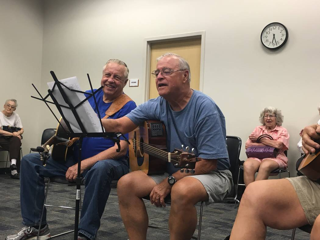 Bill Thornhill (right) and Terry Jobin laugh as Jobin is on the spot to choose the next song of the jam. (Diego Mendoza-Moyers/View) @dmendozamoyers