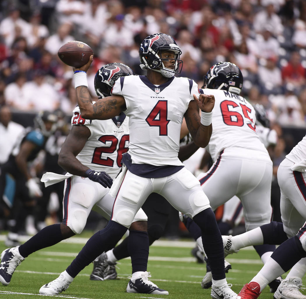 Houston Texans quarterback Deshaun Watson (4) is shown during the second half of an NFL football game Sunday, Sept. 10, 2017, in Houston. (AP Photo/Eric Christian Smith)