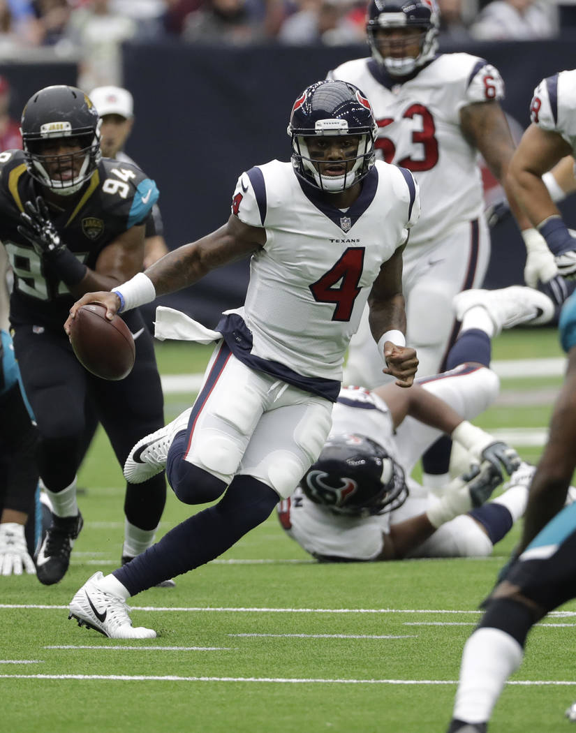 Houston Texans quarterback Deshaun Watson (4) is shown during the second half of an NFL football game Sunday, Sept. 10, 2017, in Houston. (AP Photo/David J. Phillip)
