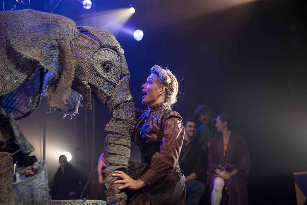 Puppet Luke Chadwick Jones operates the baby elephant, Peanuts. (Scott Levy/MSG)