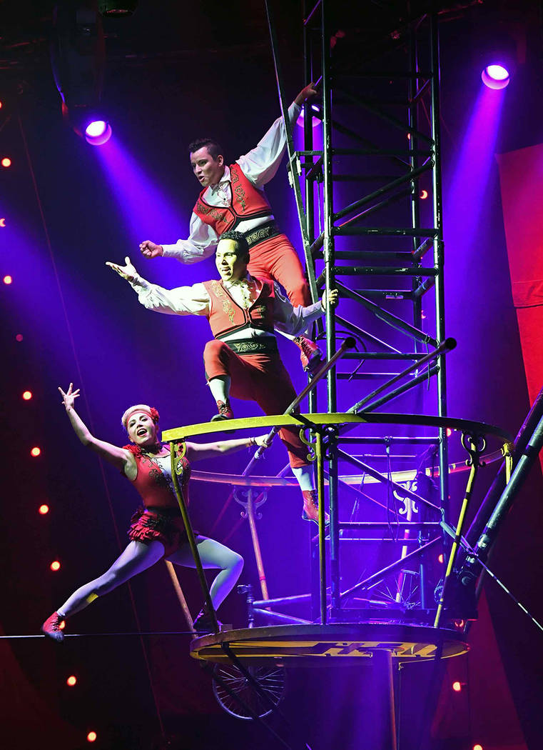"""The members of Los Lopez perform a high-wire act during the opening night of """"Circus 1903"""" at Paris Las Vegas on July 25. (Ethan Miller/Getty Images)"""