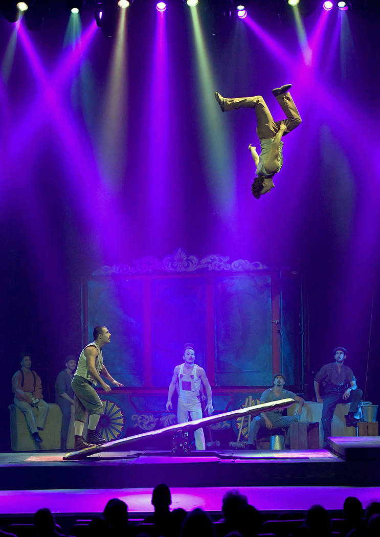 "The Flying Finns perform with a teeterboard during the opening night of ""Circus 1903.""(Ethan Miller/Getty Images)"