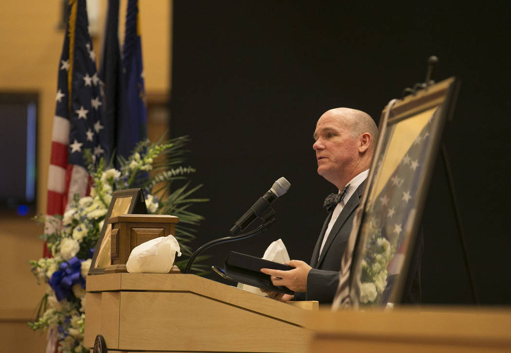 Charles Hoskin speaks during a memorial for Las Vegas court bailiff William Datthyn, 45, at Las Vegas City Hall Friday, Sept. 15, 2017, in Las Vegas. Friends, family and coworkers gathered to reme ...