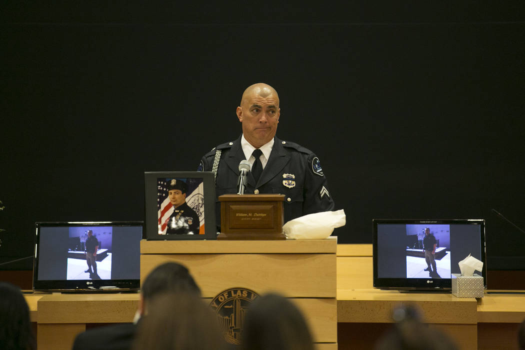 During a memorial for Las Vegas court bailiff William Datthyn, 45, Datthyn's brother-in-law Bill Barber speaks at Las Vegas City Hall Friday, Sept. 15, 2017, in Las Vegas. Friends, family and cowo ...