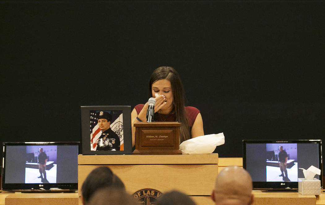 During a memorial for Las Vegas court bailiff William Datthyn, 45, Datthyn's sister Desiree Barber speaks at Las Vegas City Hall Friday, Sept. 15, 2017, in Las Vegas. Friends, family and coworkers ...