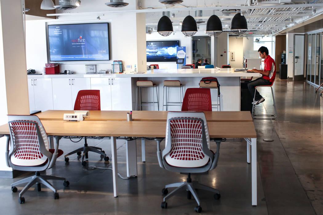 Tech Specialist Abel Maita sits inside the RedFlint experience center in Las Vegas, Saturday, Sept. 16, 2017. Joel Angel Juarez Las Vegas Review-Journal @jajuarezphoto
