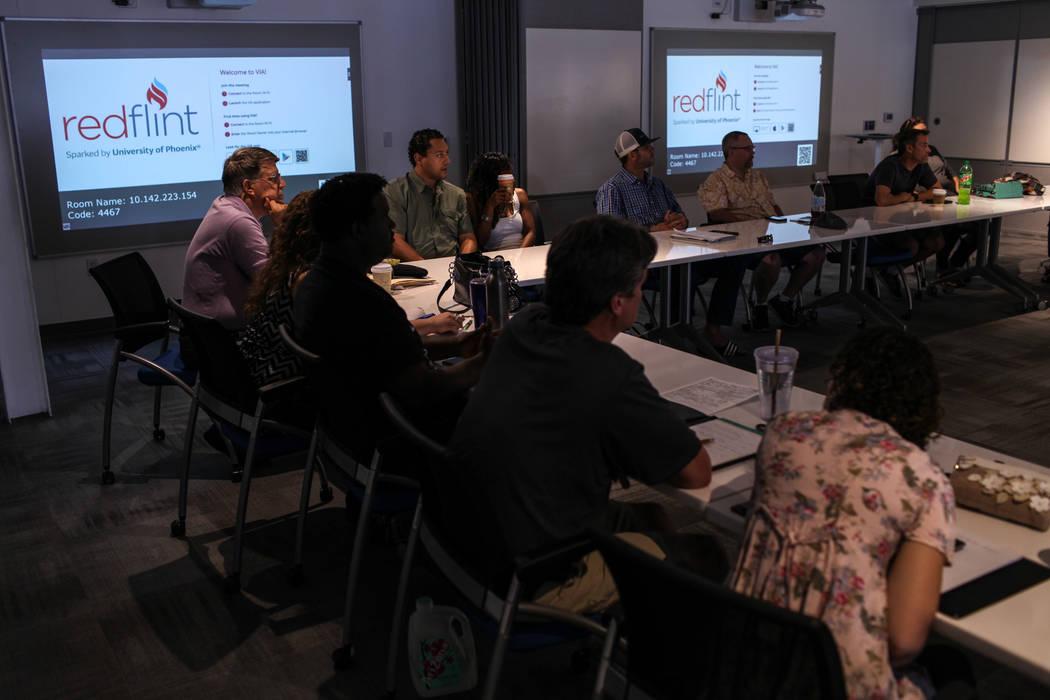 Daniel Braisted, director of Vegas Inventors, top left, attends a business strategy workshop at the RedFlint experience center in Las Vegas, Saturday, Sept. 16, 2017. Joel Angel Juarez Las Vegas R ...