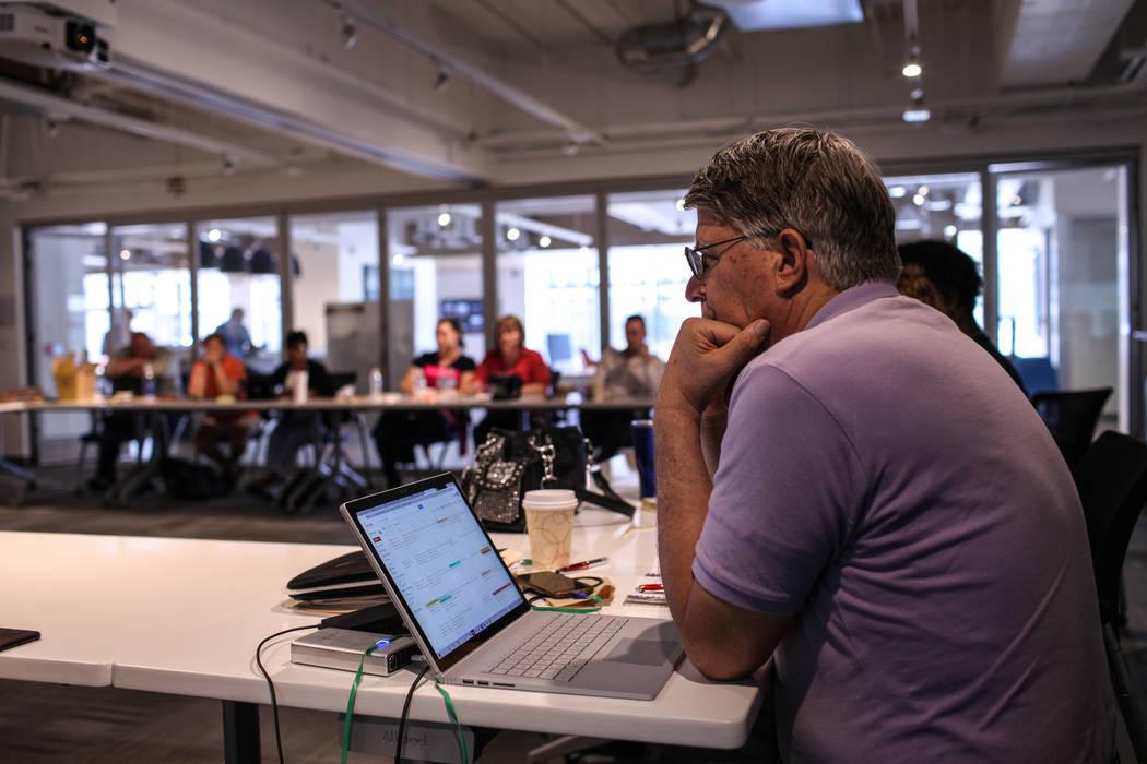Daniel Braisted, director of Vegas Inventors, attends a business strategy workshop at the RedFlint experience center in Las Vegas, Saturday, Sept. 16, 2017. Joel Angel Juarez Las Vegas Review-Jour ...