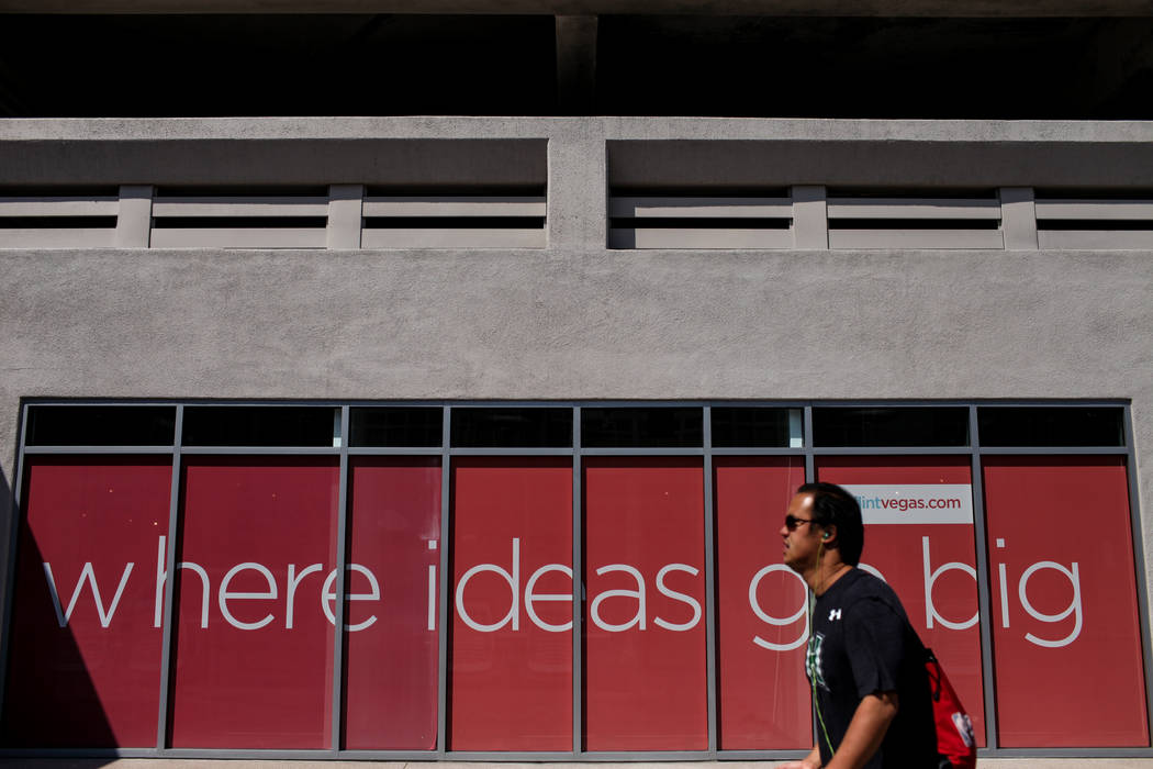 A man walks past the RedFlint experience center in Las Vegas, Saturday, Sept. 16, 2017. Joel Angel Juarez Las Vegas Review-Journal @jajuarezphoto