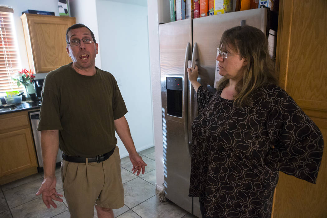 Matt and Caryn Minkowsky at their home in northwest Las Vegas on Wednesday, Sept. 20, 2017. Matt currently has stage 2 brain cancer, and also underwent surgery to drain a cyst in his brain in late ...
