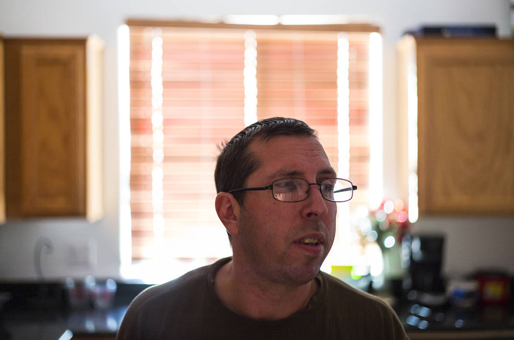 Matt Minkowsky at his home in northwest Las Vegas on Wednesday, Sept. 20, 2017. Matt currently has stage 2 brain cancer, and also underwent surgery to drain a cyst in his brain in late August. Cha ...