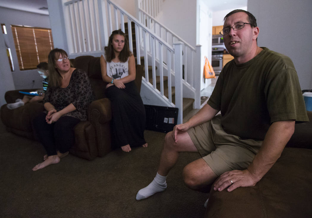 Matt Minkowsky, right, with his son Brandon, 6, wife Caryn, and daughter Tiffani, 14, at their home in northwest Las Vegas on Wednesday, Sept. 20, 2017. Matt currently has stage 2 brain cancer, an ...