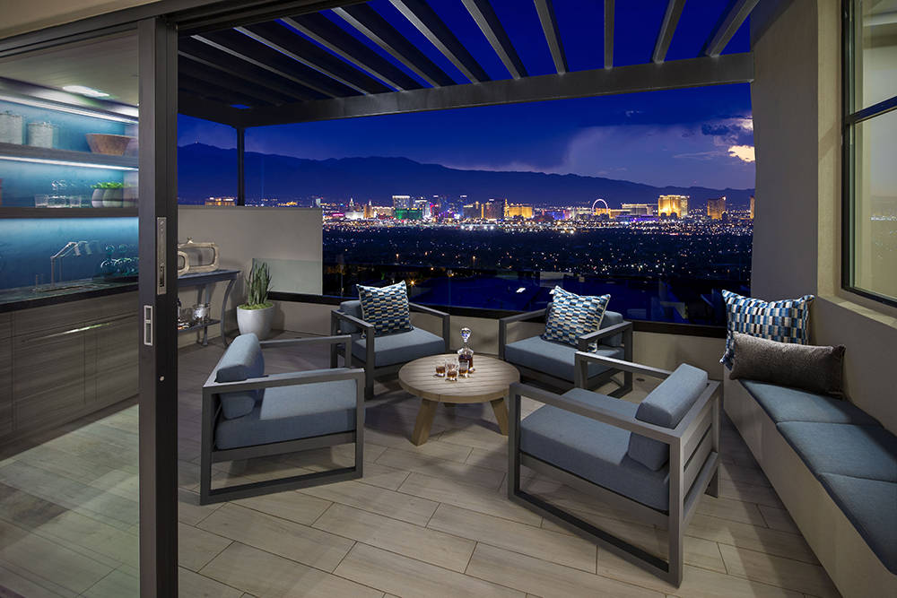 The patio of a Vu townhome model, which opened this summer, has views of the Las Vegas Strip. (Christopher Homes)