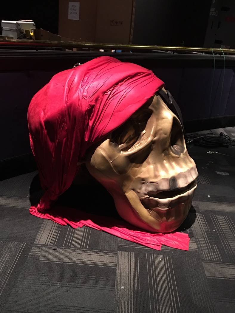 """A skull prop from the """"WOW""""show is shown production's showroom at the Rio on Sept. 1, 2017. (John Katsilometes/Las Vegas Review-Journal) @JohnnyKats"""
