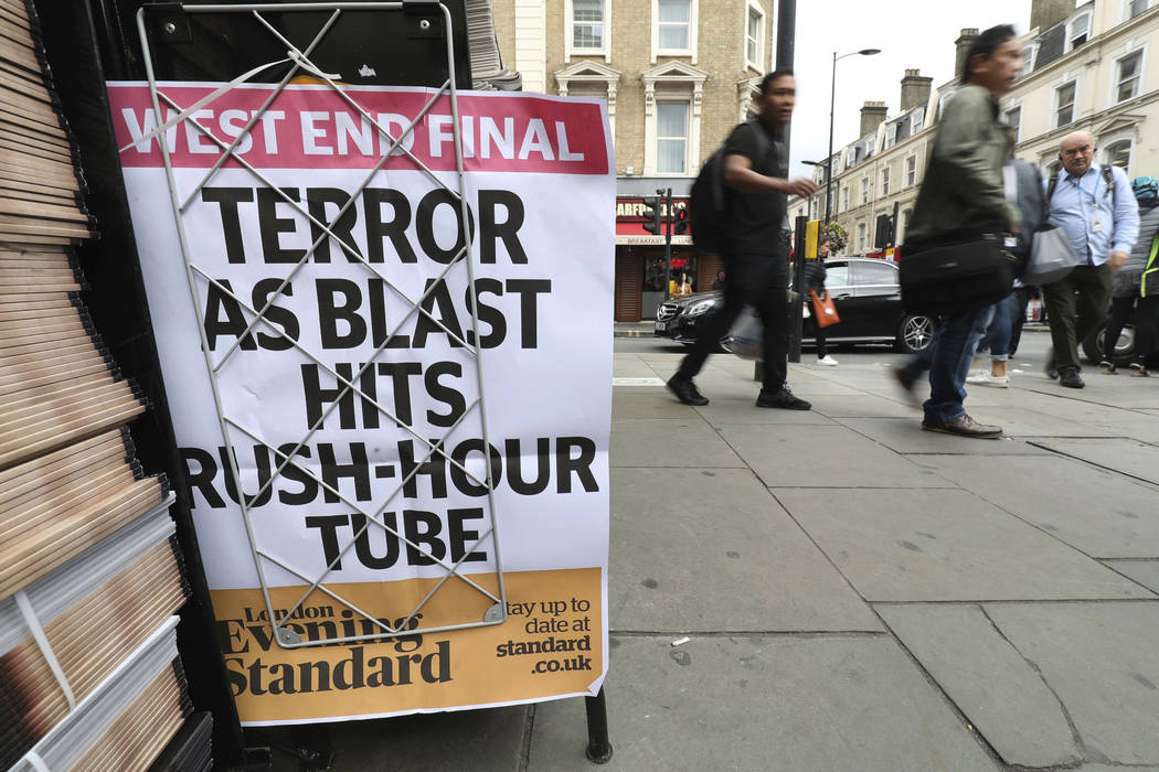 A London evening newspaper stand displays their headline outside Paddington tube station in London, after a terrorist incident was declared at Parsons Green subway station Friday, Sept. 15, 2017.  ...
