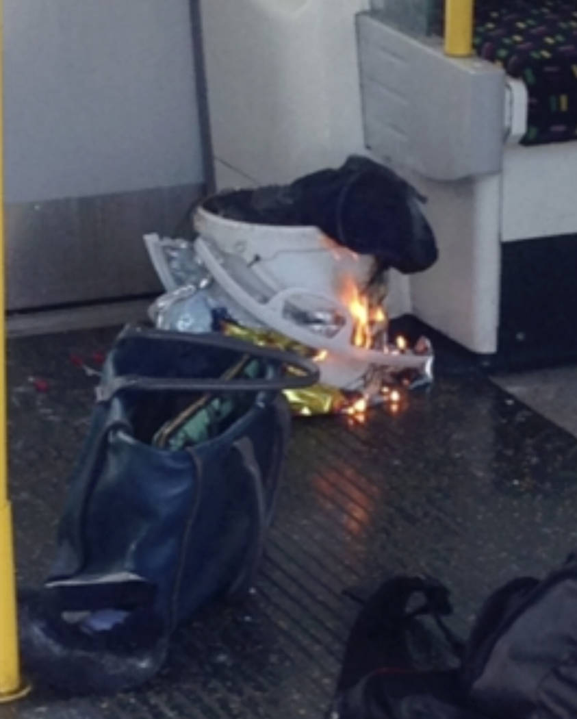 In this image made from video, fire raises at a southwest London subway station in London Friday, Sept. 15, 2017. London's Metropolitan Police and ambulance services are confirming they are at the ...