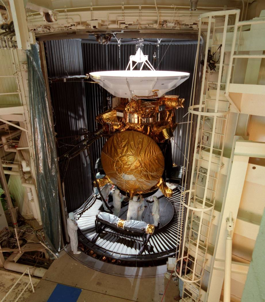 In this Oct. 31, 1996 photo made available by NASA, the newly assembled Cassini Saturn probe undergoes vibration and thermal testing at the Jet Propulsion Laboratory facilities in Pasadena, Calif. ...