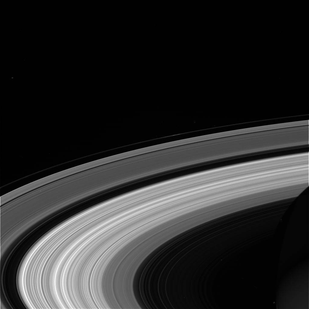 This Wednesday, Sept. 13, 2017, image taken using the CL1 and RED filters and made available Thursday by NASA shows Saturn's rings, as seen from the Cassini spacecraft. NASA's Cassini spacecraft a ...
