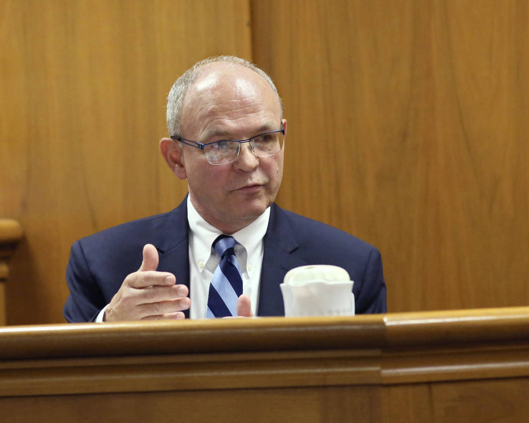 Dr. Gregory VanRybroek who evaluated Annissa Weier's mental state at the time of the crime, testifies Thursday, Sept. 14, 2017, in Waukesha County Court, Waukesha County, Wis.  Prosecutors allege  ...