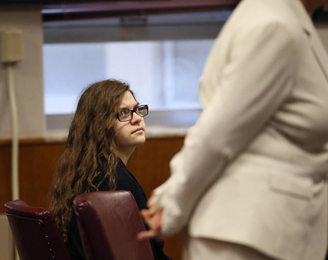 Anissa Weier, left, listens as her attorney Maura McMahon questions a witness Thursday, Sept. 14, 2017, in Waukesha County Court, Waukesha County, Wis.  Prosecutors allege that Weier and her frien ...