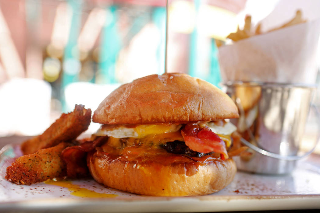 Barley's Cafe'snew sriracha peanut butter bacon burger in Barley's Casino and Brewing Co. in Henderson, Monday, Sept. 18, 207. Elizabeth Brumley Las Vegas Review-Journal
